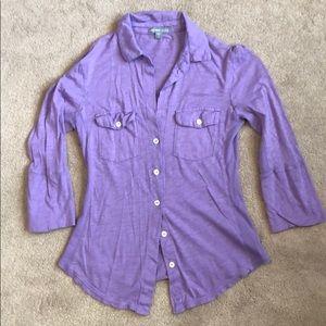 James Perse Sheer slub side shirt Purple